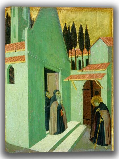 Pietro, Sano di: Saint Anthony Leaving His Monastery. Fine Art Canvas. Sizes: A4/A3/A2/A1 (004168)